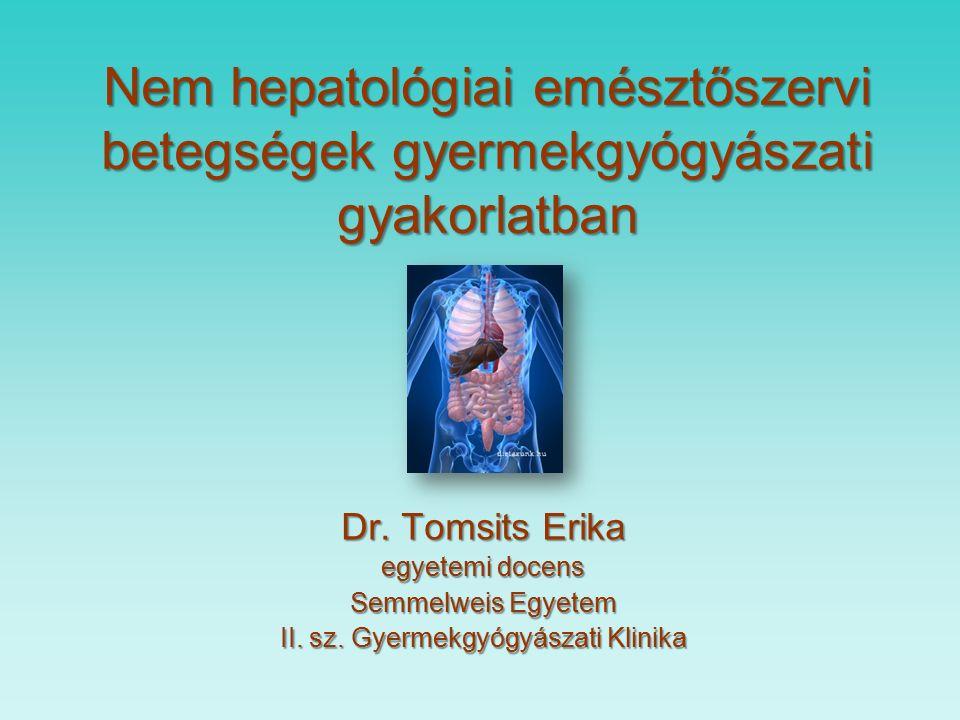 Táplálékallargia tünettana a gyomor- bélrendszerben (nem IgE mediált) Károk KárokTünet Szövődmény Szövődmény enteropátia krónikus hasmenés, esetleg hányás; súlyállás/fogyás másodlagos lactose intolerancia; fehérjevesztő enteropátia, oedema vashiányos anemia enterocolitis szindróma profus hányás étel után 2-3 órával perzisztáló hasmenés, súlyállás/fogyás, bélvérzés akut dehidratio proctocolitis anyatejesen táplált csecsemőnél is.
