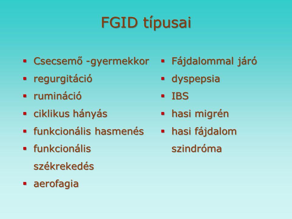Funkcionális Gasztrointesztinális (FGID) betegségek biopszichoszociális modellel jellemezhetők, biopszichoszociális modellel jellemezhetők, kialakulásuk többtényezős kialakulásuk többtényezős kombinációja a krónikus vagy rekurráló emésztőszervi tüneteknek kombinációja a krónikus vagy rekurráló emésztőszervi tüneteknek struktúrális és biokémia eltérés nélkül struktúrális és biokémia eltérés nélkül emésztőrendszer ↔ központi idegrendszer  emésztőrendszer ↔ központi idegrendszer  környezeti tényezők környezeti tényezők