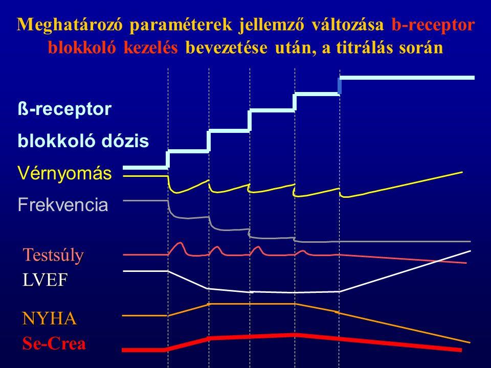 Meghatározó paraméterek jellemző változása b-receptor blokkoló kezelés bevezetése után, a titrálás során ß-receptor blokkoló dózis Vérnyomás Frekvencia TestsúlyLVEF NYHA Se-Crea