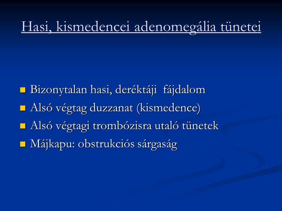 Hasi, kismedencei adenomegália tünetei Bizonytalan hasi, deréktáji fájdalom Bizonytalan hasi, deréktáji fájdalom Alsó végtag duzzanat (kismedence) Alsó végtag duzzanat (kismedence) Alsó végtagi trombózisra utaló tünetek Alsó végtagi trombózisra utaló tünetek Májkapu: obstrukciós sárgaság Májkapu: obstrukciós sárgaság