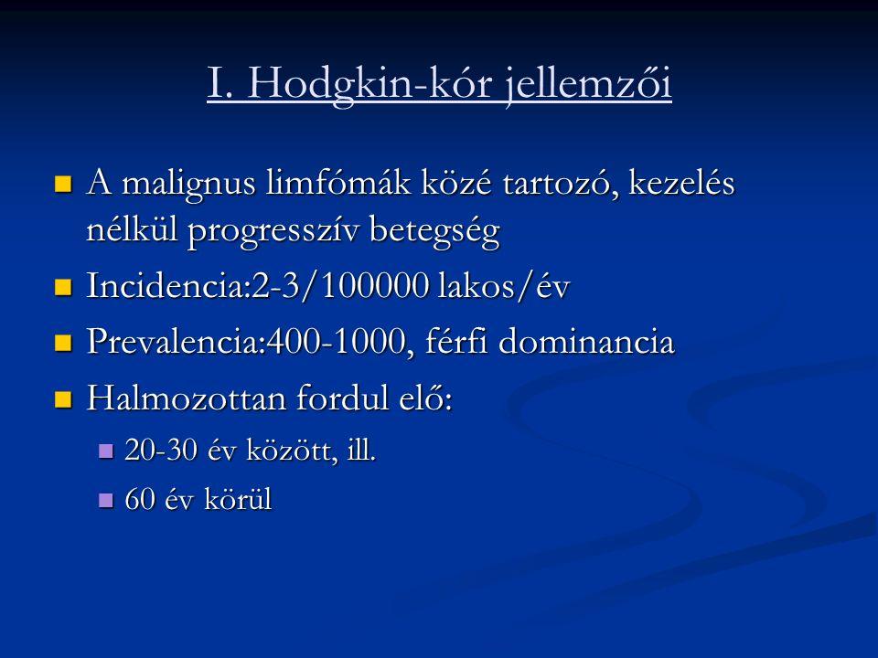 I. Hodgkin-kór jellemzői A malignus limfómák közé tartozó, kezelés nélkül progresszív betegség A malignus limfómák közé tartozó, kezelés nélkül progre