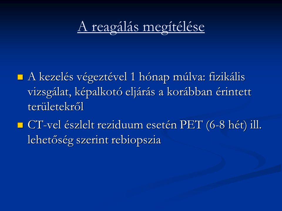 A reagálás megítélése A kezelés végeztével 1 hónap múlva: fizikális vizsgálat, képalkotó eljárás a korábban érintett területekről A kezelés végeztével 1 hónap múlva: fizikális vizsgálat, képalkotó eljárás a korábban érintett területekről CT-vel észlelt reziduum esetén PET (6-8 hét) ill.