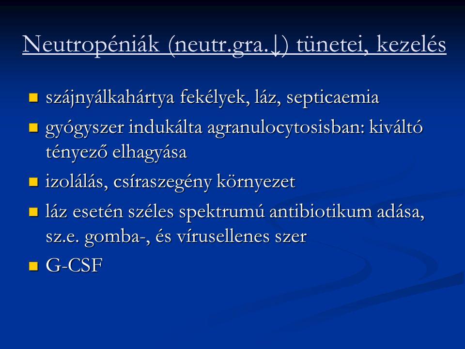 Neutropéniák (neutr.gra.↓) tünetei, kezelés szájnyálkahártya fekélyek, láz, septicaemia szájnyálkahártya fekélyek, láz, septicaemia gyógyszer indukálta agranulocytosisban: kiváltó tényező elhagyása gyógyszer indukálta agranulocytosisban: kiváltó tényező elhagyása izolálás, csíraszegény környezet izolálás, csíraszegény környezet láz esetén széles spektrumú antibiotikum adása, sz.e.