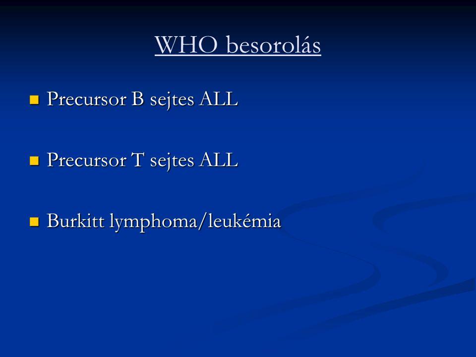 WHO besorolás Precursor B sejtes ALL Precursor B sejtes ALL Precursor T sejtes ALL Precursor T sejtes ALL Burkitt lymphoma/leukémia Burkitt lymphoma/leukémia