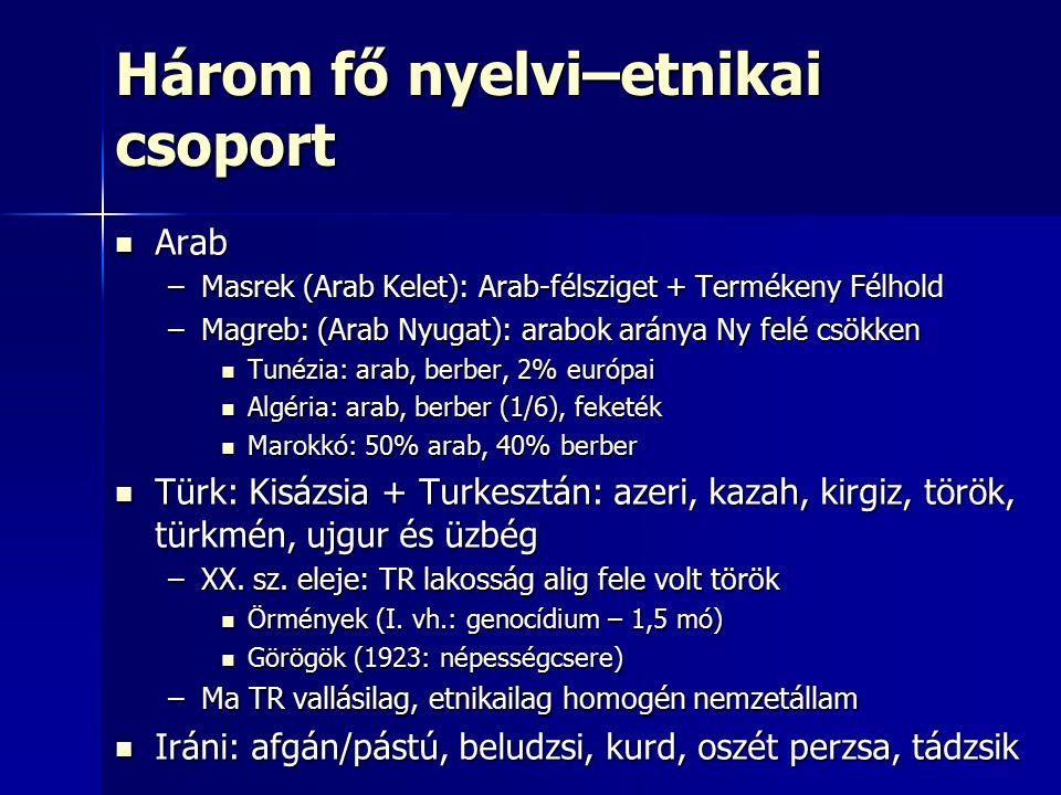 Három fő nyelvi–etnikai csoport Arab Arab –Masrek (Arab Kelet): Arab-félsziget + Termékeny Félhold –Magreb: (Arab Nyugat): arabok aránya Ny felé csökken Tunézia: arab, berber, 2% európai Tunézia: arab, berber, 2% európai Algéria: arab, berber (1/6), feketék Algéria: arab, berber (1/6), feketék Marokkó: 50% arab, 40% berber Marokkó: 50% arab, 40% berber Türk: Kisázsia + Turkesztán: azeri, kazah, kirgiz, török, türkmén, ujgur és üzbég Türk: Kisázsia + Turkesztán: azeri, kazah, kirgiz, török, türkmén, ujgur és üzbég –XX.