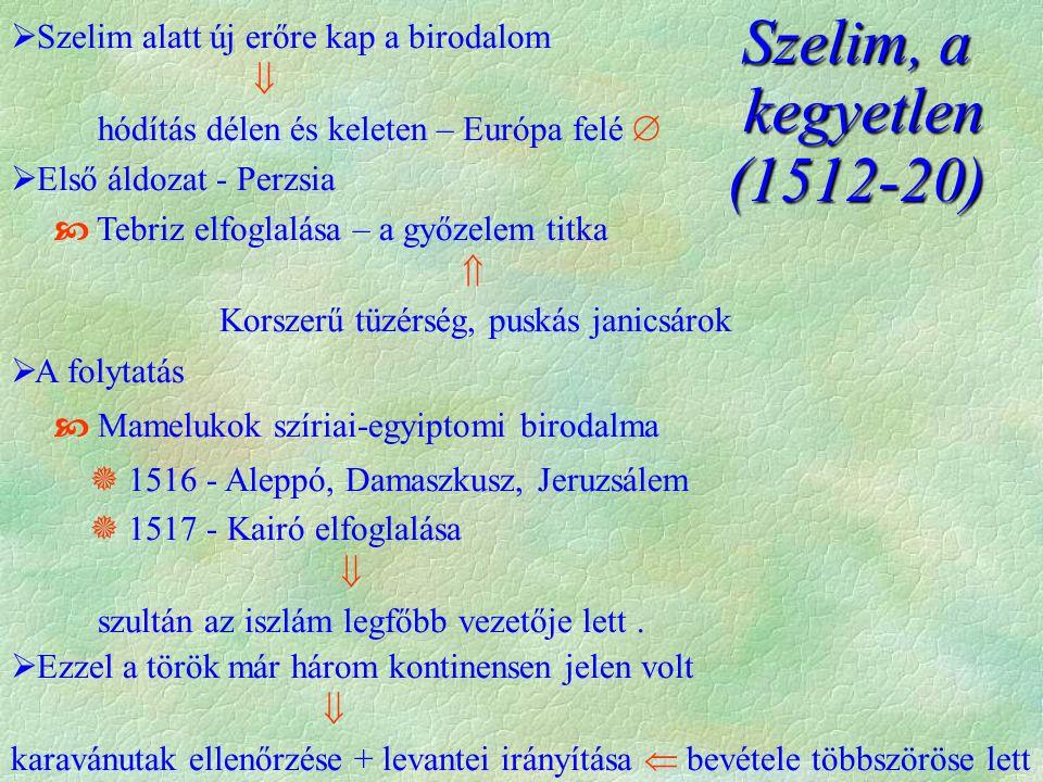 Szelim, a kegyetlen kegyetlen(1512-20)  Szelim alatt új erőre kap a birodalom  hódítás délen és keleten – Európa felé   Első áldozat - Perzsia  Tebriz elfoglalása – a győzelem titka  Korszerű tüzérség, puskás janicsárok  A folytatás  Mamelukok szíriai-egyiptomi birodalma  1516 - Aleppó, Damaszkusz, Jeruzsálem  1517 - Kairó elfoglalása  szultán az iszlám legfőbb vezetője lett.