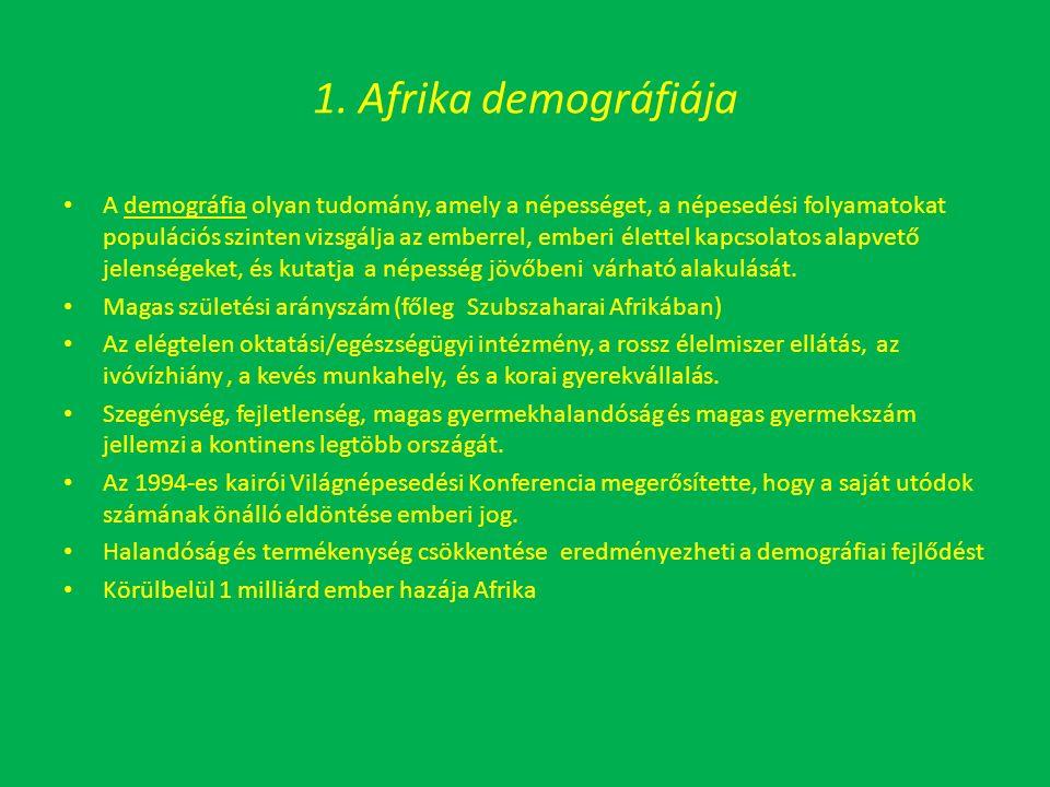1. Afrika demográfiája A demográfia olyan tudomány, amely a népességet, a népesedési folyamatokat populációs szinten vizsgálja az emberrel, emberi éle