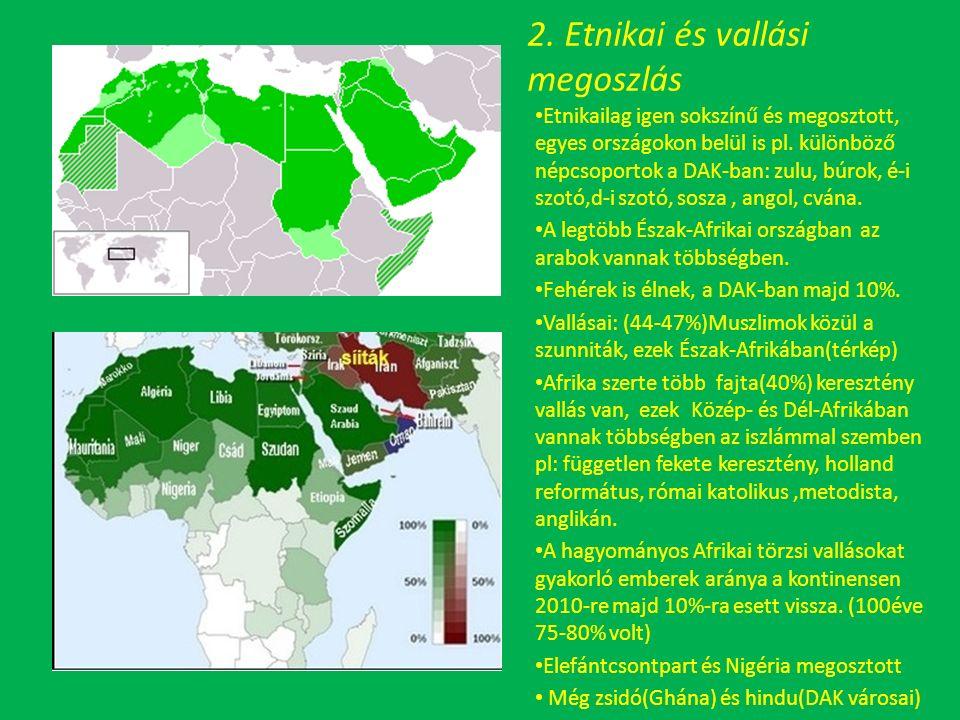 2. Etnikai és vallási megoszlás Etnikailag igen sokszínű és megosztott, egyes országokon belül is pl. különböző népcsoportok a DAK-ban: zulu, búrok, é
