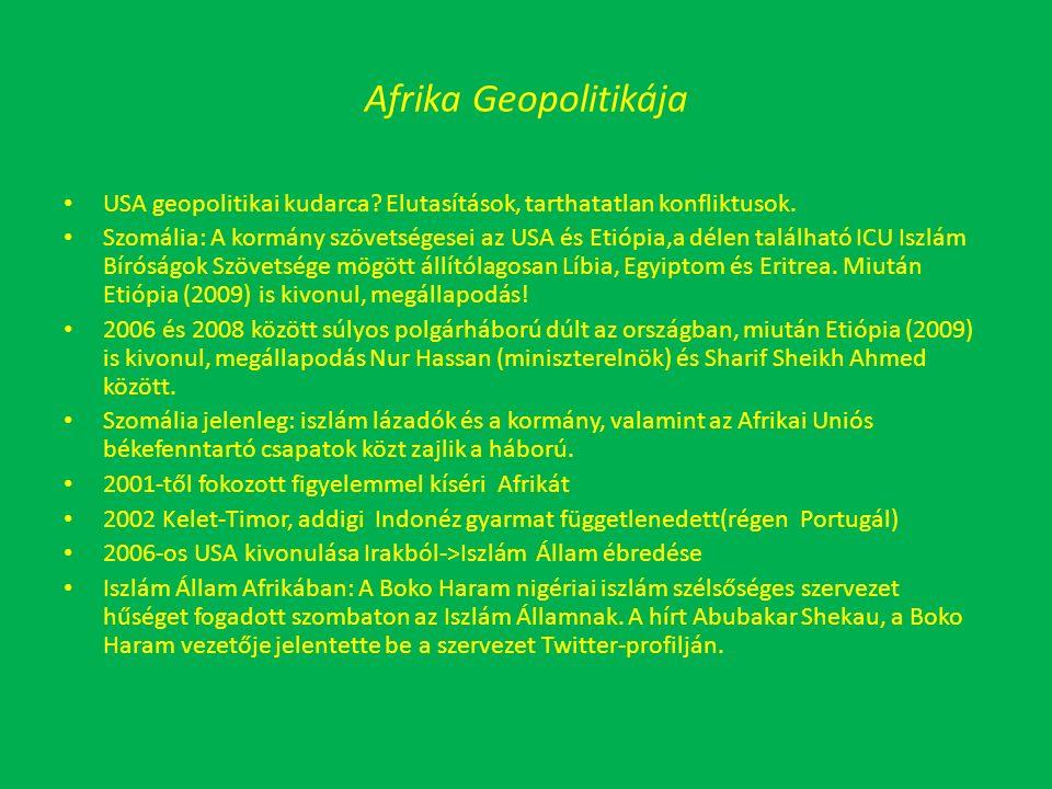 Afrika Geopolitikája USA geopolitikai kudarca. Elutasítások, tarthatatlan konfliktusok.