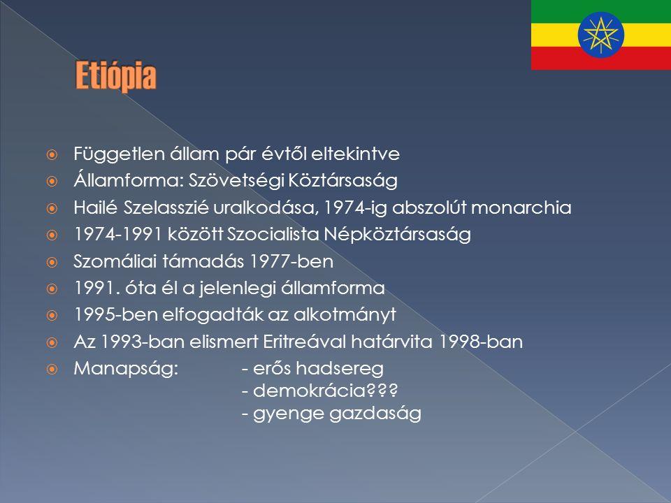  Független állam pár évtől eltekintve  Államforma: Szövetségi Köztársaság  Hailé Szelasszié uralkodása, 1974-ig abszolút monarchia  1974-1991 között Szocialista Népköztársaság  Szomáliai támadás 1977-ben  1991.