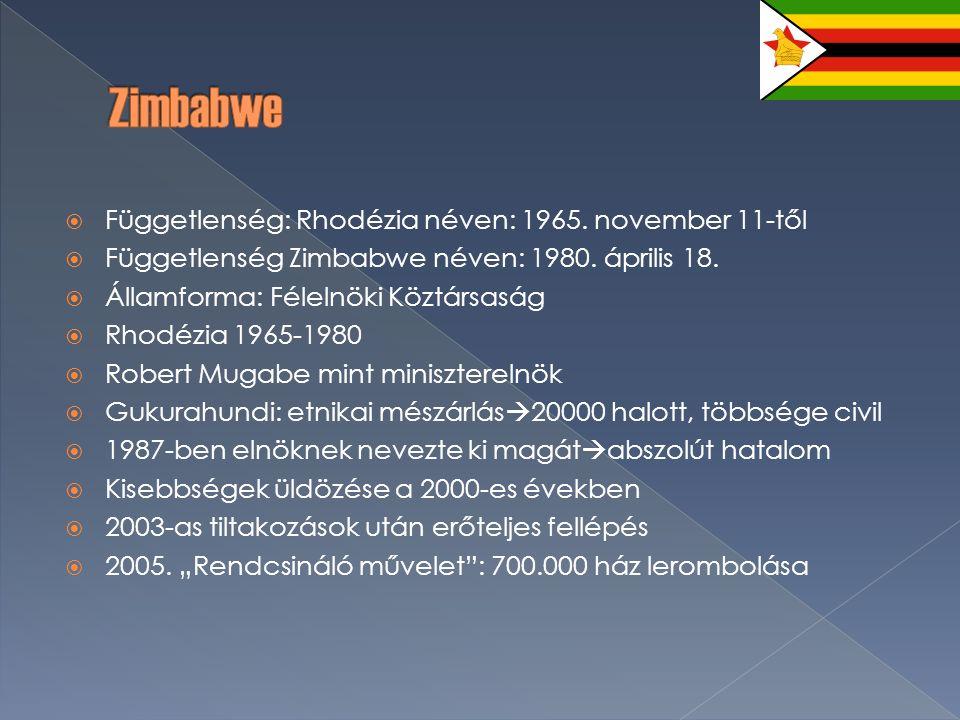  Függetlenség: Rhodézia néven: 1965. november 11-től  Függetlenség Zimbabwe néven: 1980.