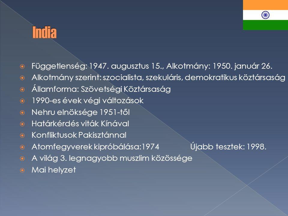  Függetlenség: 1947. augusztus 15., Alkotmány: 1950.