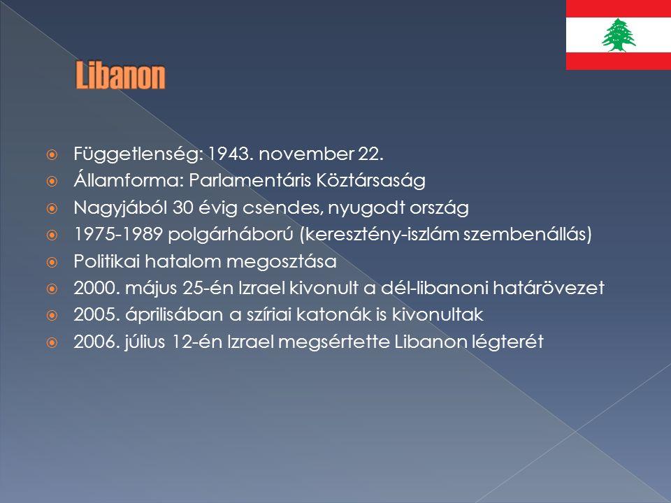  Függetlenség: 1943. november 22.