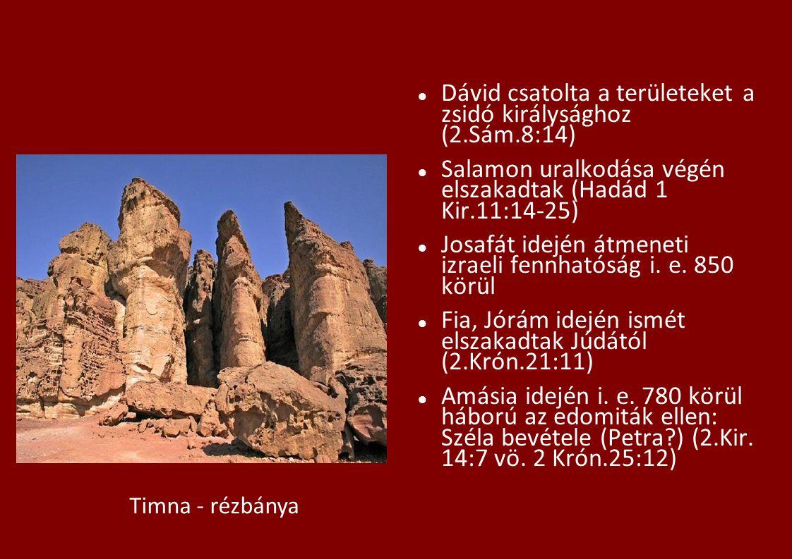 Dávid csatolta a területeket a zsidó királysághoz (2.Sám.8:14) Salamon uralkodása végén elszakadtak (Hadád 1 Kir.11:14-25) Josafát idején átmeneti izraeli fennhatóság i.