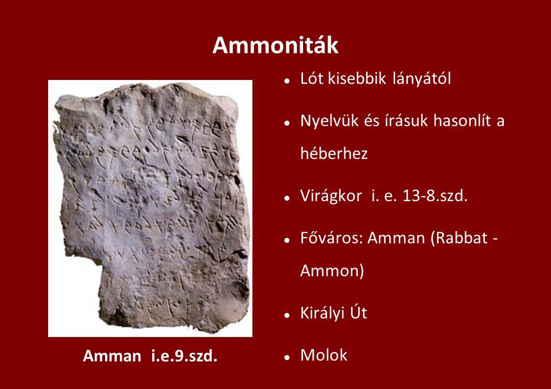 Ammoniták Lót kisebbik lányától Nyelvük és írásuk hasonlít a héberhez Virágkor i. e. 13-8.szd. Főváros: Amman (Rabbat - Ammon) Királyi Út Molok Amman