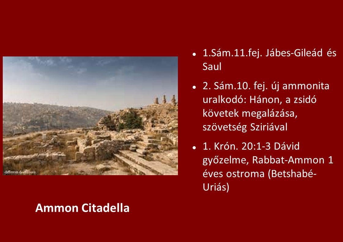1.Sám.11.fej. Jábes-Gileád és Saul 2. Sám.10. fej. új ammonita uralkodó: Hánon, a zsidó követek megalázása, szövetség Sziriával 1. Krón. 20:1-3 Dávid