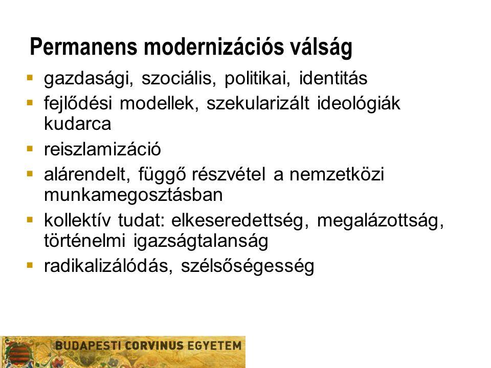 Permanens modernizációs válság  gazdasági, szociális, politikai, identitás  fejlődési modellek, szekularizált ideológiák kudarca  reiszlamizáció  alárendelt, függő részvétel a nemzetközi munkamegosztásban  kollektív tudat: elkeseredettség, megalázottság, történelmi igazságtalanság  radikalizálódás, szélsőségesség