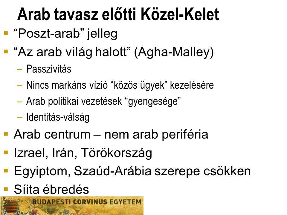 Arab tavasz előtti Közel-Kelet  Poszt-arab jelleg  Az arab világ halott (Agha-Malley) –Passzivitás –Nincs markáns vízió közös ügyek kezelésére –Arab politikai vezetések gyengesége –Identitás-válság  Arab centrum – nem arab periféria  Izrael, Irán, Törökország  Egyiptom, Szaúd-Arábia szerepe csökken  Síita ébredés
