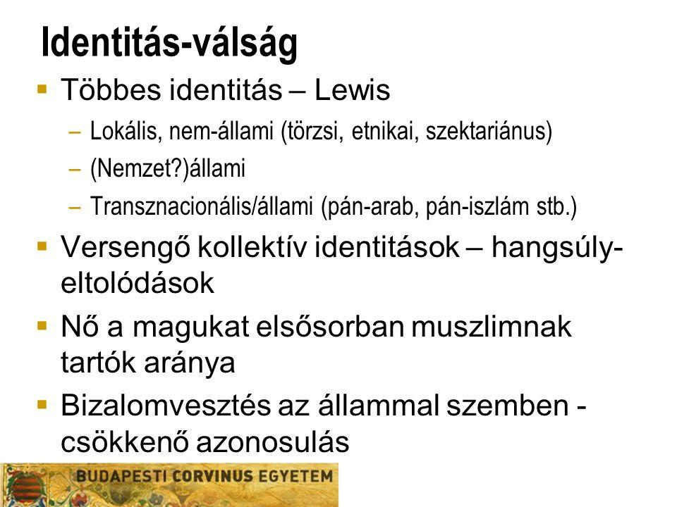 Identitás-válság  Többes identitás – Lewis –Lokális, nem-állami (törzsi, etnikai, szektariánus) –(Nemzet )állami –Transznacionális/állami (pán-arab, pán-iszlám stb.)  Versengő kollektív identitások – hangsúly- eltolódások  Nő a magukat elsősorban muszlimnak tartók aránya  Bizalomvesztés az állammal szemben - csökkenő azonosulás