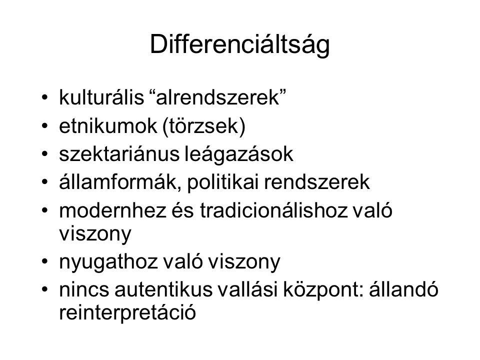 Differenciáltság kulturális alrendszerek etnikumok (törzsek) szektariánus leágazások államformák, politikai rendszerek modernhez és tradicionálishoz való viszony nyugathoz való viszony nincs autentikus vallási központ: állandó reinterpretáció
