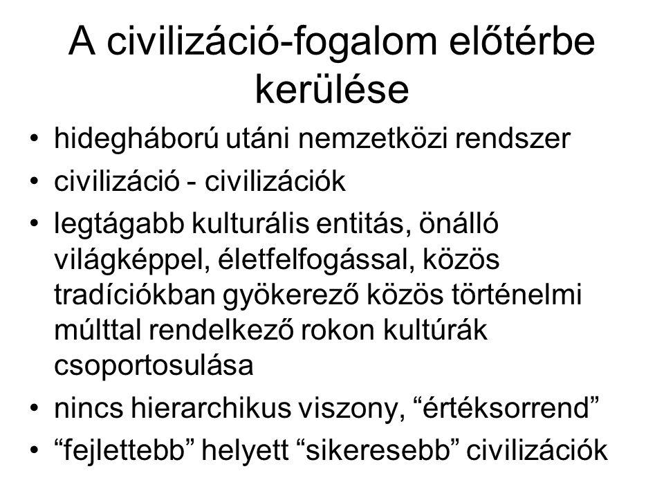 Fogalomhasználat problémái Európa-centrikus Nincs konszenzus Nincs egységes csoportképző ismérv ENSZ nem alkalmazza (Nyugat-Ázsia) Nem földrajzi kategória –Civilizációs-kulturális –Politikai-geopolitikai
