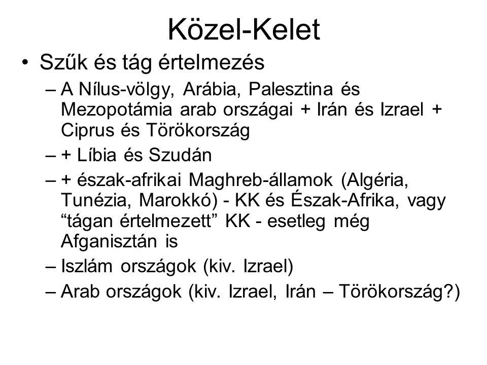Szűk és tág értelmezés –A Nílus-völgy, Arábia, Palesztina és Mezopotámia arab országai + Irán és Izrael + Ciprus és Törökország –+ Líbia és Szudán –+ észak-afrikai Maghreb-államok (Algéria, Tunézia, Marokkó) - KK és Észak-Afrika, vagy tágan értelmezett KK - esetleg még Afganisztán is –Iszlám országok (kiv.