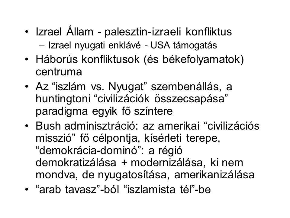 Izrael Állam - palesztin-izraeli konfliktus –Izrael nyugati enklávé - USA támogatás Háborús konfliktusok (és békefolyamatok) centruma Az iszlám vs.