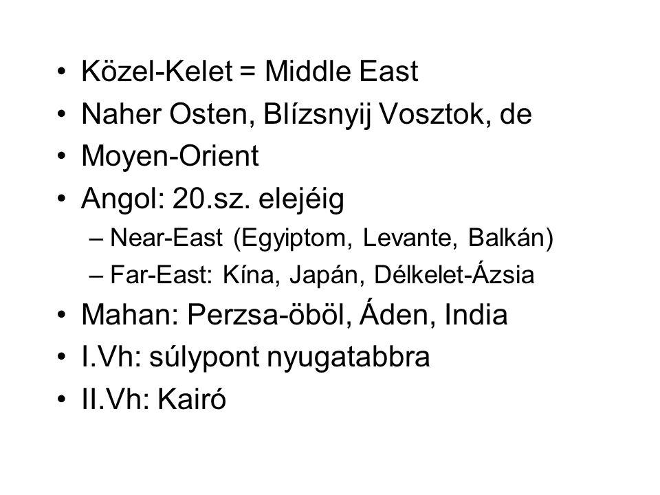Közel-Kelet = Middle East Naher Osten, Blízsnyij Vosztok, de Moyen-Orient Angol: 20.sz.