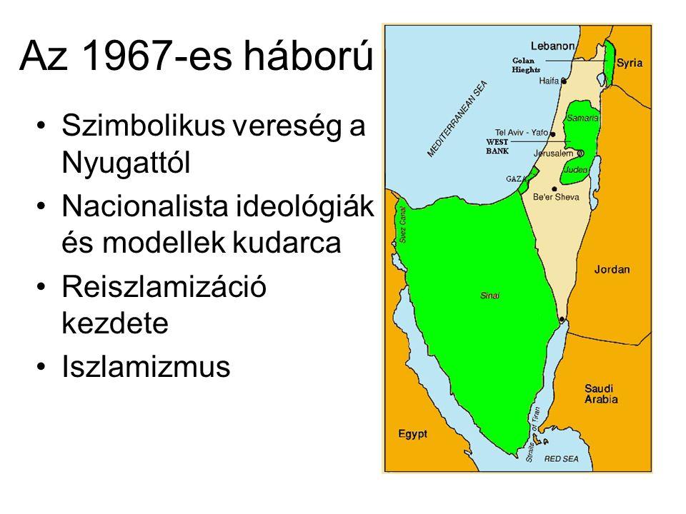 Az 1967-es háború Szimbolikus vereség a Nyugattól Nacionalista ideológiák és modellek kudarca Reiszlamizáció kezdete Iszlamizmus