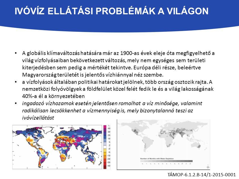 IVÓVÍZ ELLÁTÁSI PROBLÉMÁK A VILÁGON A globális klímaváltozás hatására már az 1900-as évek eleje óta megfigyelhető a világ vízfolyásaiban bekövetkezett változás, mely nem egységes sem területi kiterjedésben sem pedig a mértékét tekintve.