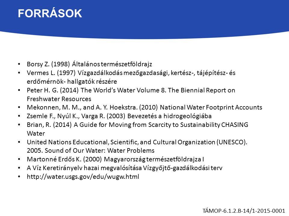 FORRÁSOK Borsy Z. (1998) Általános természetföldrajz Vermes L.