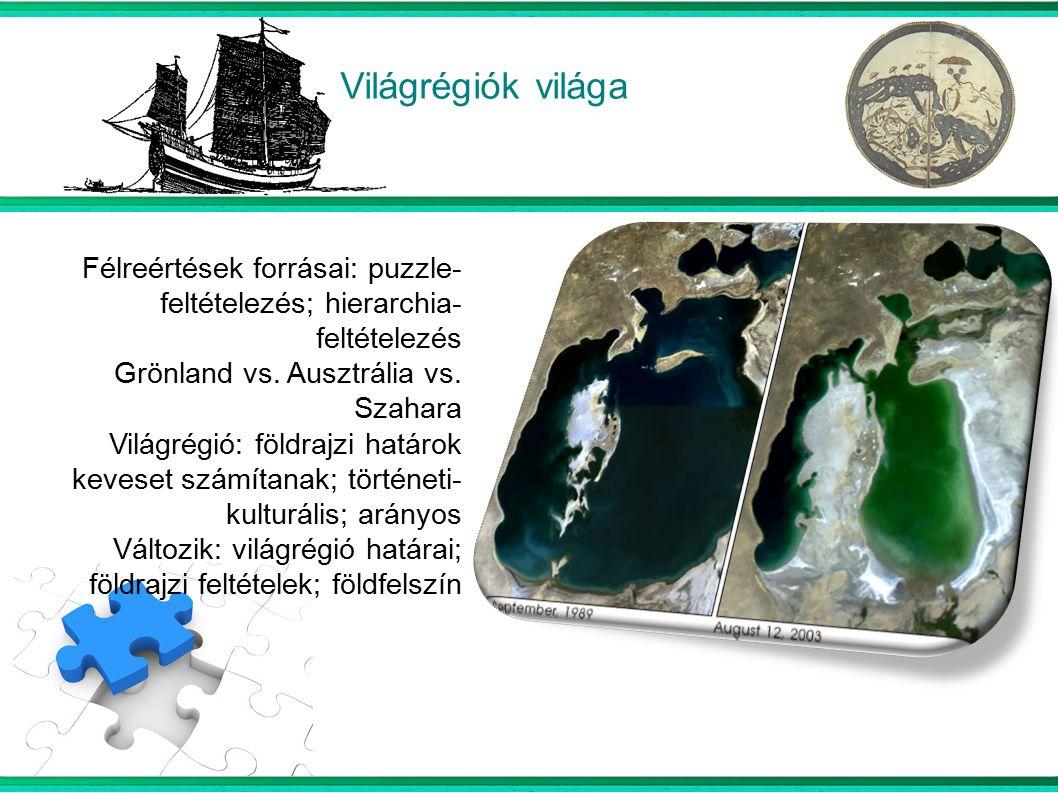 Világrégiók világa  Félreértések forrásai: puzzle- feltételezés; hierarchia- feltételezés Grönland vs.