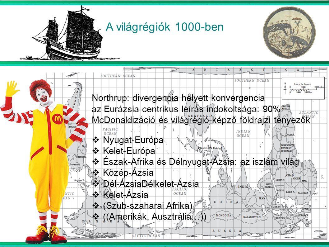 A világrégiók 1000-ben Northrup: divergencia helyett konvergencia az Eurázsia-centrikus leírás indokoltsága: 90% McDonaldizáció és világrégió-képző földrajzi tényezők NNyugat-Európa KKelet-Európa ÉÉszak-Afrika és Délnyugat-Ázsia: az iszlám világ KKözép-Ázsia DDél-ÁzsiaDélkelet-Ázsia KKelet-Ázsia ((Szub-szaharai Afrika) (((Amerikák, Ausztrália…))