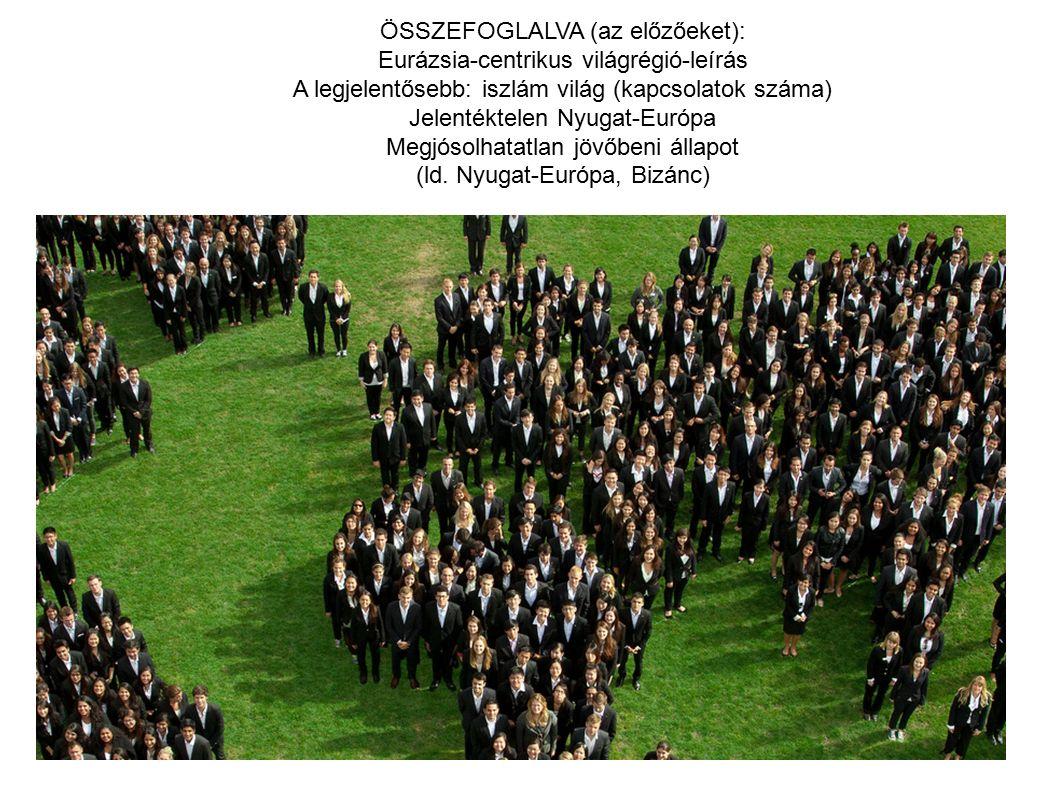 ÖSSZEFOGLALVA (az előzőeket): Eurázsia-centrikus világrégió-leírás A legjelentősebb: iszlám világ (kapcsolatok száma) Jelentéktelen Nyugat-Európa Megjósolhatatlan jövőbeni állapot (ld.