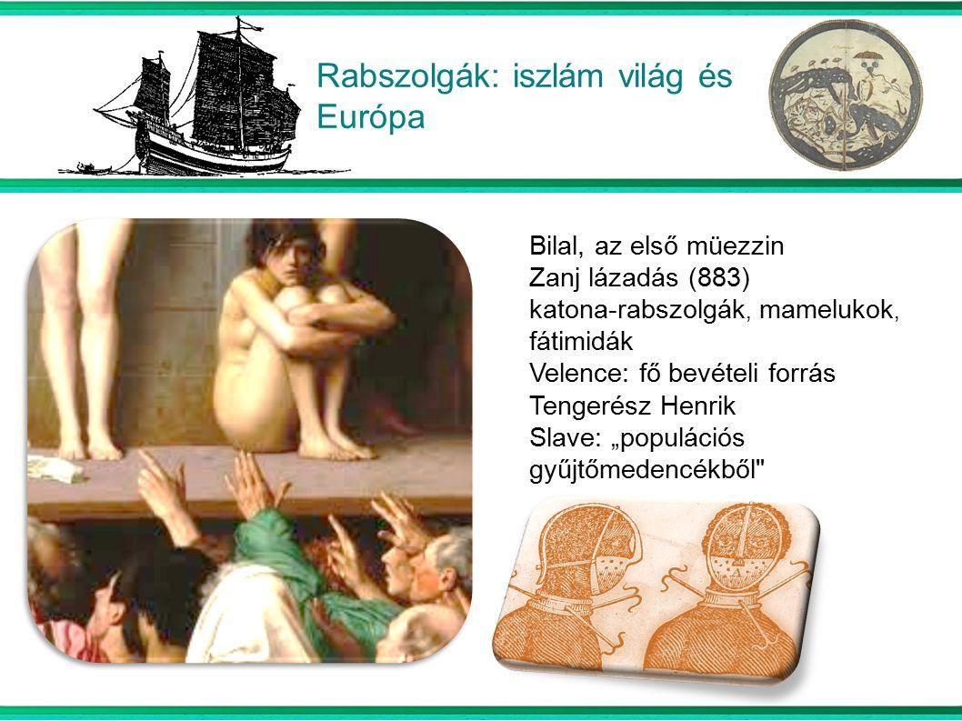 """Rabszolgák: iszlám világ és Európa Bilal, az első müezzin Zanj lázadás (883) katona-rabszolgák, mamelukok, fátimidák Velence: fő bevételi forrás Tengerész Henrik Slave: """"populációs gyűjtőmedencékből"""
