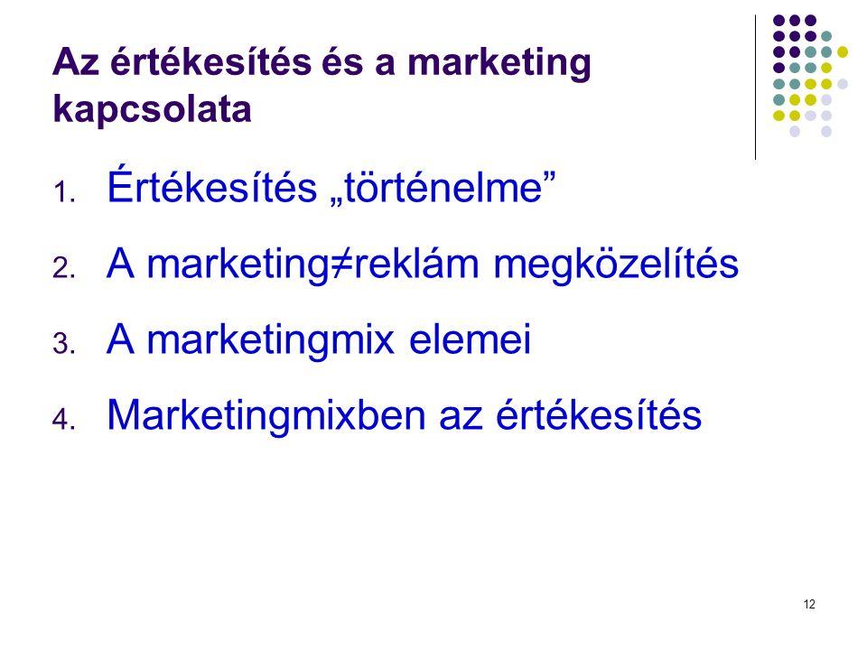 """12 Az értékesítés és a marketing kapcsolata 1. Értékesítés """"történelme 2."""