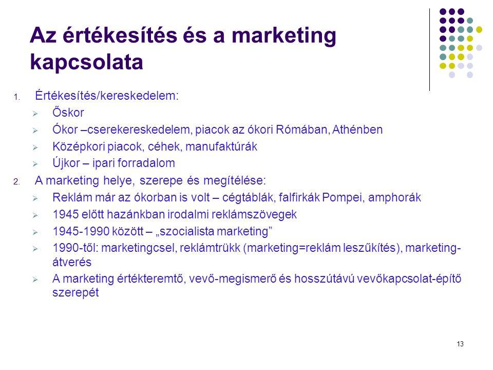 13 Az értékesítés és a marketing kapcsolata 1.