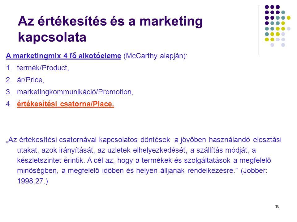18 Az értékesítés és a marketing kapcsolata A marketingmix 4 fő alkotóeleme (McCarthy alapján): 1.termék/Product, 2.ár/Price, 3.marketingkommunikáció/Promotion, 4.értékesítési csatorna/Place.