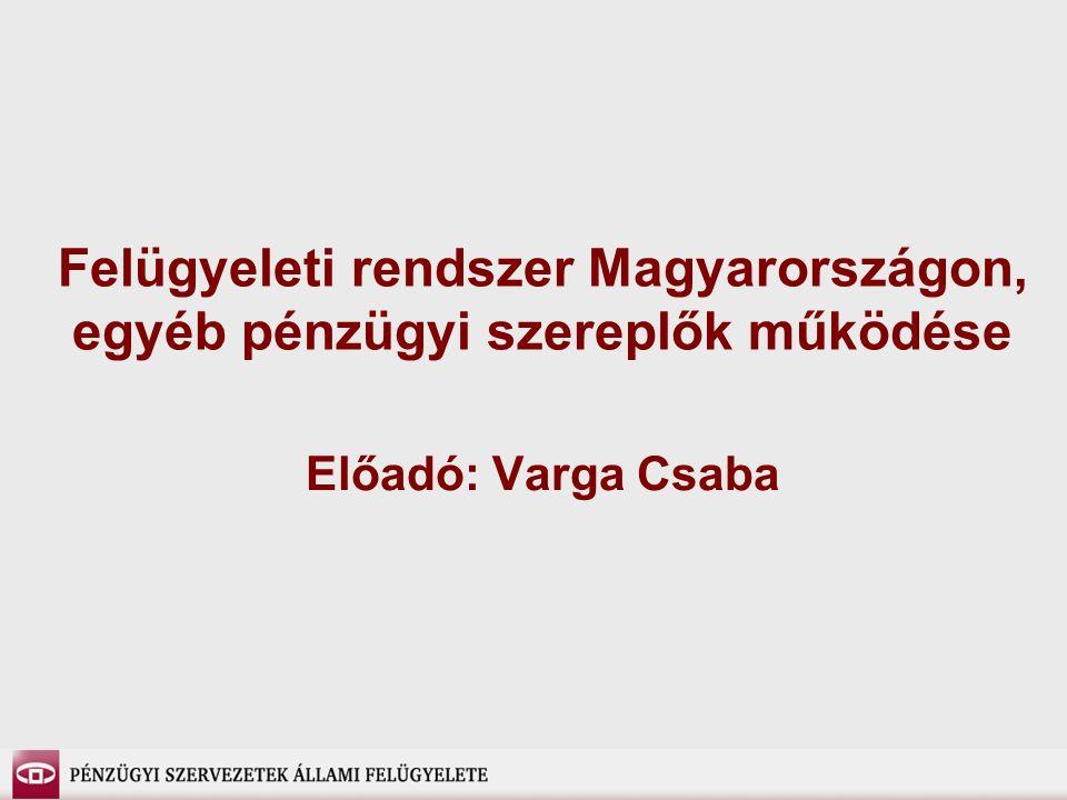 Felügyeleti rendszer Magyarországon, egyéb pénzügyi szereplők működése Előadó: Varga Csaba