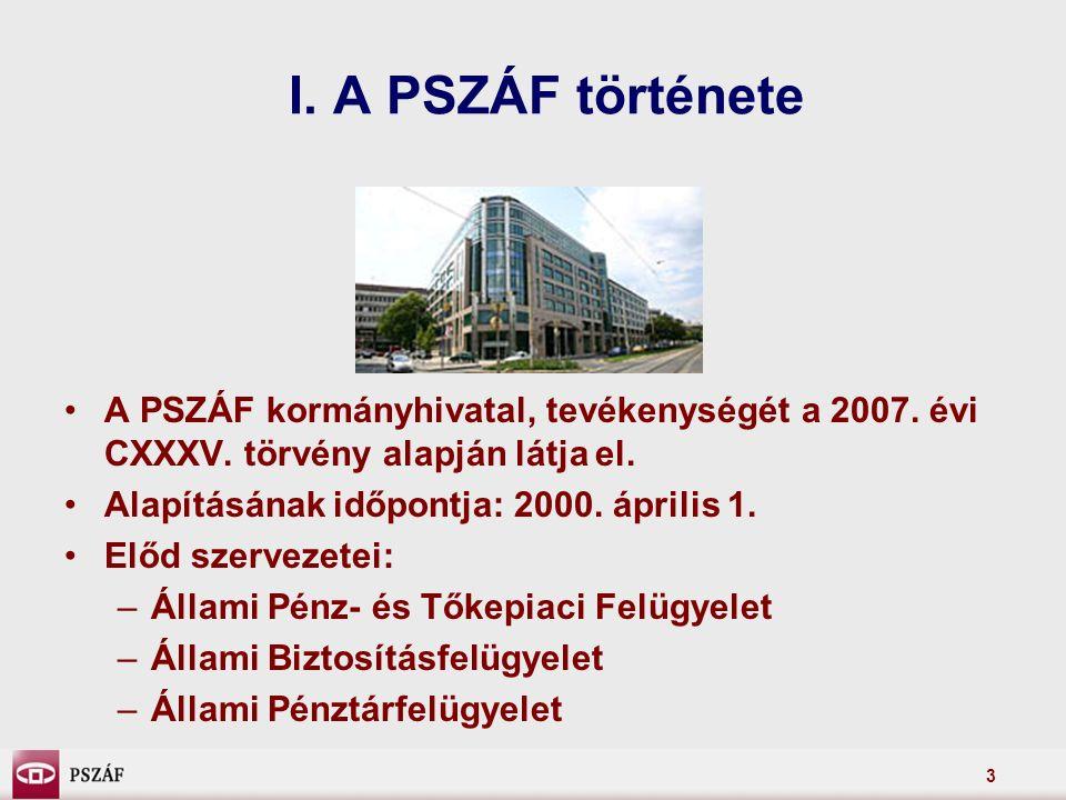 3 I. A PSZÁF története A PSZÁF kormányhivatal, tevékenységét a 2007.