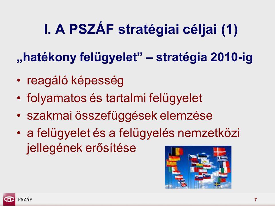 """7 I. A PSZÁF stratégiai céljai (1) """"hatékony felügyelet"""" – stratégia 2010-ig reagáló képesség folyamatos és tartalmi felügyelet szakmai összefüggések"""