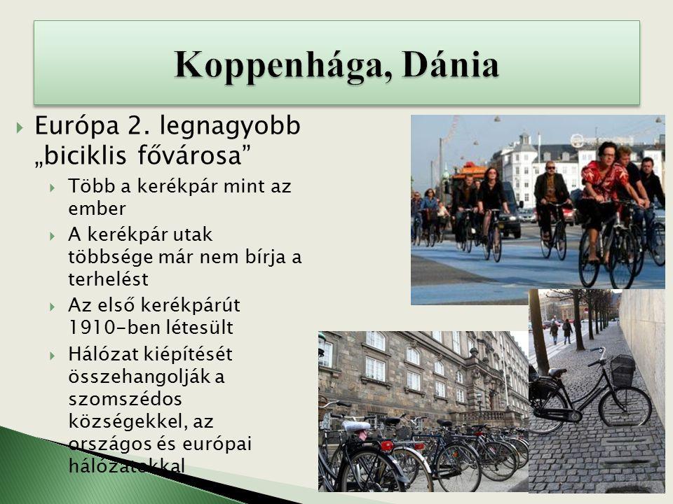 """ Európa 2. legnagyobb """"biciklis fővárosa""""  Több a kerékpár mint az ember  A kerékpár utak többsége már nem bírja a terhelést  Az első kerékpárút 1"""