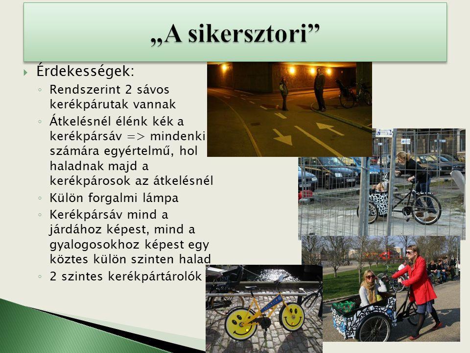  Érdekességek: ◦ Rendszerint 2 sávos kerékpárutak vannak ◦ Átkelésnél élénk kék a kerékpársáv => mindenki számára egyértelmű, hol haladnak majd a kerékpárosok az átkelésnél ◦ Külön forgalmi lámpa ◦ Kerékpársáv mind a járdához képest, mind a gyalogosokhoz képest egy köztes külön szinten halad ◦ 2 szintes kerékpártárolók