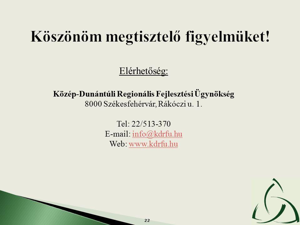 22 Elérhetőség: Közép-Dunántúli Regionális Fejlesztési Ügynökség 8000 Székesfehérvár, Rákóczi u. 1. Tel: 22/513-370 E-mail: info@kdrfu.huinfo@kdrfu.hu