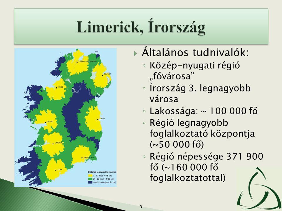 """3  Általános tudnivalók: ◦ Közép-nyugati régió """"fővárosa"""" ◦ Írország 3. legnagyobb városa ◦ Lakossága: ~ 100 000 fő ◦ Régió legnagyobb foglalkoztató"""