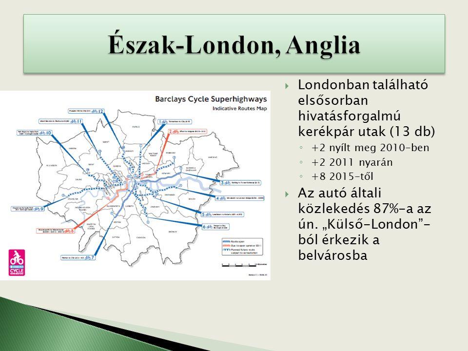  Londonban található elsősorban hivatásforgalmú kerékpár utak (13 db) ◦ +2 nyílt meg 2010-ben ◦ +2 2011 nyarán ◦ +8 2015-től  Az autó általi közlekedés 87%-a az ún.