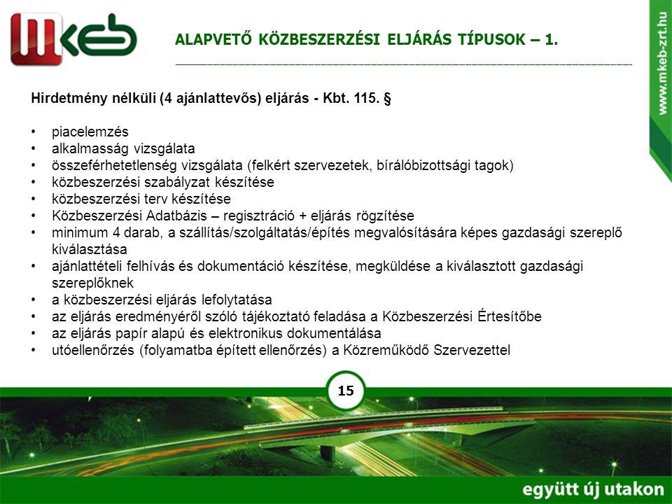 15 Hirdetmény nélküli (4 ajánlattevős) eljárás - Kbt. 115. § piacelemzés alkalmasság vizsgálata összeférhetetlenség vizsgálata (felkért szervezetek, b