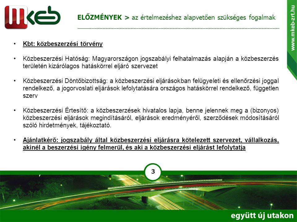 3 Kbt: közbeszerzési törvény Közbeszerzési Hatóság: Magyarországon jogszabályi felhatalmazás alapján a közbeszerzés területén kizárólagos hatáskörrel eljáró szervezet Közbeszerzési Döntőbizottság: a közbeszerzési eljárásokban felügyeleti és ellenőrzési joggal rendelkező, a jogorvoslati eljárások lefolytatására országos hatáskörrel rendelkező, független szerv Közbeszerzési Értesítő: a közbeszerzések hivatalos lapja, benne jelennek meg a (bizonyos) közbeszerzési eljárások megindításáról, eljárások eredményéről, szerződések módosításáról szóló hirdetmények, tájékoztató.