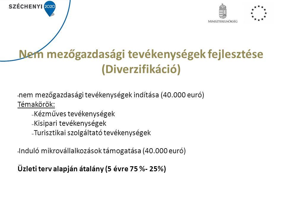 Nem mezőgazdasági tevékenységek fejlesztése (Diverzifikáció) nem mezőgazdasági tevékenységek indítása (40.000 euró) Témakörök: – Kézműves tevékenységek – Kisipari tevékenységek – Turisztikai szolgáltató tevékenységek Induló mikrovállalkozások támogatása (40.000 euró) Üzleti terv alapján átalány (5 évre 75 %- 25%)