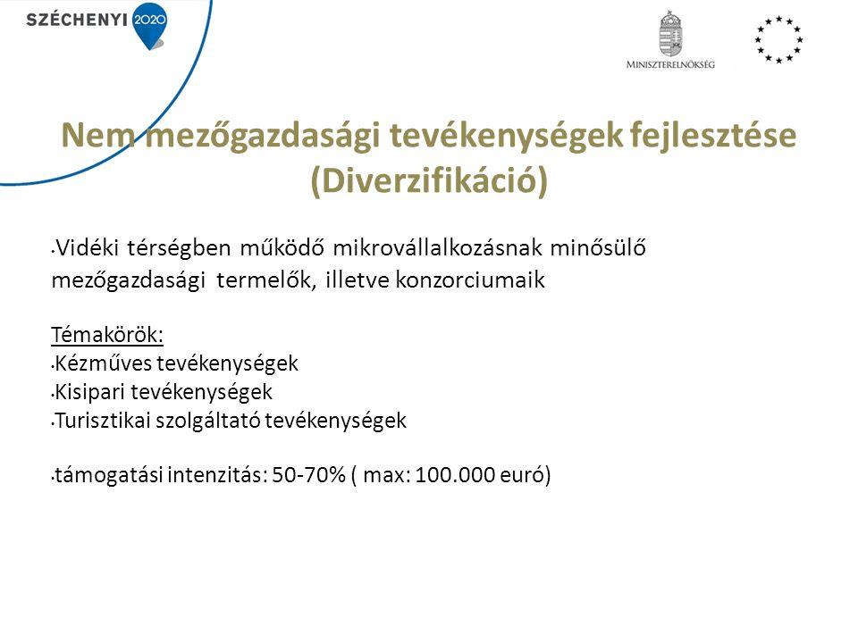 Nem mezőgazdasági tevékenységek fejlesztése (Diverzifikáció) Vidéki térségben működő mikrovállalkozásnak minősülő mezőgazdasági termelők, illetve konzorciumaik Témakörök: Kézműves tevékenységek Kisipari tevékenységek Turisztikai szolgáltató tevékenységek támogatási intenzitás: 50-70% ( max: 100.000 euró)